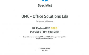 OMC é HP PartnerONE GOLD Managed Print Specialist 2012